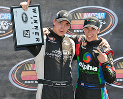 Scott Heckert also won the 21 means 21 presented by Coors Brewing Co. Pole Award and is seen here with Ben Rhodes who currently leads the championship points battle