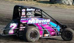 """Shannon """"Lightning"""" McQueen racing in her USAC Midget"""