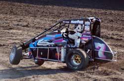 "USAC Midget racer Shannon ""Lightning"" McQueen racing at the Bakersfield Speedway"