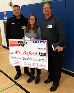 Ms. DeFord was awarded teacher of the year