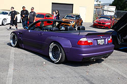 Purple convertible M3 at Shutter Space Randy Higbee Gallery, Costa Mesa, California sponsored by Crooks & Castles and Super Street