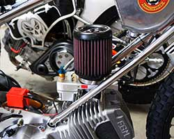 The 500cc single cylinder, methanol burning, Speedway motorcycles used by Team USA in the 2014 Monster Energy Speedway World Cup were equipped with a K&N High-Flow Air Filter