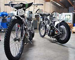The owner of Joker Machine builds Billy Hamill's Speedway motorcycles for local racing and are the same bikes used by Team USA in the 2014 Monster Energy Speedway World Cup