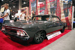 With the help of many sponsors and friends Tim King was able to finish this sweet 1966 Cehvelle in time for SEMA 2012