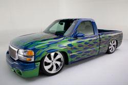 Chris' Blue Custom 2003 GMC Sierra SLE Truck