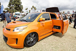 Scion with sound system and a DJ booth at All Toyotafest 2016 in Long Beach, CA