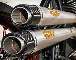 Exhaust for the Track Chief was constructed from carefully mandrel bent titanium tubing with the goal of keeping the pipes as close to the chassis as possible without sacrificing leg room