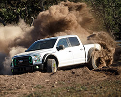 With Vaughn Gittin Jr. behind the wheel of the 2015 Ford F150 Ultimate Funhaver the truck easily transitioned between drifts, kicking up epic roosts, and getting airborne off of jumps