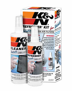 K&N Cabin Air Filters can be cleaned in a few simple steps with the K&N Refresher Kit 99-6000; not to be confused with K&N's traditional Recharger kit