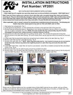 Installation instructions for K&N Cabin Air Filter VF2001