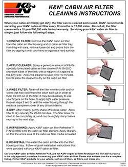 Instructions for K&N VF2047 cabin air filter for Volkswagen, Audi, Skoda or Seat
