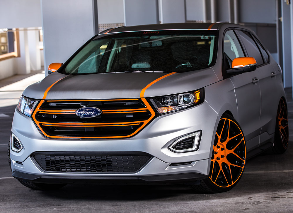 aaron vaccar styled 2015 ford edge sport made its debut in ford s 2015 sema booth. Black Bedroom Furniture Sets. Home Design Ideas