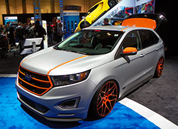"The Vaccar 2015 Ford Edge Sport is precisely stanced using advanced Air Lift air suspension and a ""floating"" air tank in the vehicle's rear hatch"