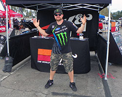 Vaughn Gittin Jr dropped by the K&N booth in the Angel Stadium parking lot to say hi after he made the rounds autographing the cars of a few lucky car show entrants