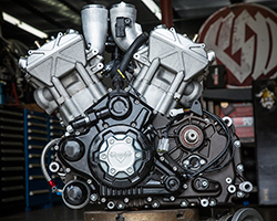 A liquid-cooled v-twin engine represents the future of performance for Victory and features twin 67mm intake throttle bodies