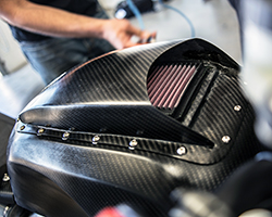 K&N filters has an on-site composite department which builds hand-laid carbon fiber components ranging from air filter top plates to custom dragster air scoops and racing air boxes