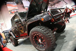 There is a long list of upgrades for this cool 2012 Wrangler in order to meet SEMA attendees expectations