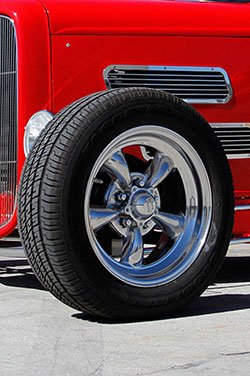 The wheels come from American Torqthrust and the tires are B.F. Goodrich.