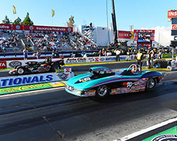 Steve Williams won the final round of Super Gas competition in his 1963 Chevrolet Corvette