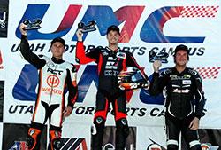 Kyle Wyman on the podium at Utah Motorsports Campus
