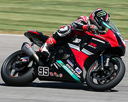 MotoAmerica fans at Indy took photos all weekend of the special red and black 30th anniversary GSX-R750 color scheme used on Hayden's Suzuki GSX-R1000 Superbike