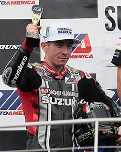 Roger Hayden led many laps on his K&N equipped Yoshimura Suzuki Factory Racing GSX-R1000, but had to settle for close runner-up finishes in both MotoAmerica races