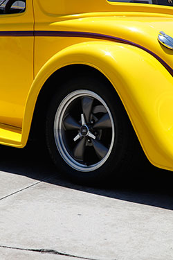 Mach 1 17-inch wheels added to custom lowered 1934 Ford
