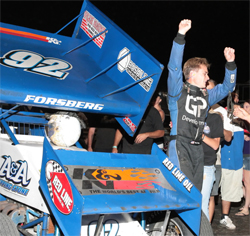 Andy Forsberg wins race in the Civil War Series at Calistoga, California. Now he is part of the first father and son due to win main events on the half mile track in California's wine country.