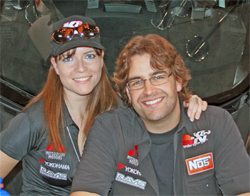 Andrew Comrie-Picard and X-Games co-driver Jen Horsey in K&N booth at SEMA