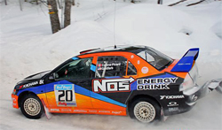 Mitsubishi Lancer Evolution IX driven by Andrew Comrie-Picard at Sno Drift Rally in Northern Michigan, photo courtesy of Rally America