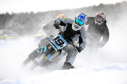 Adam Bushman returned to racing at Central Wisconsin Ice Racing Association opener in Fremont, Wisconsin