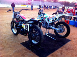 Adam Bushman's Harley-Davidson XR-750 at AMA Pro Flat Track Grand National Championship in Savannah, Georgia