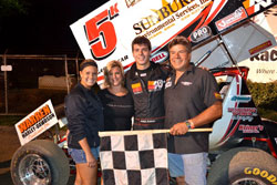 Adam Kekich enjoys the winners circle after domination at Mercer Raceway Park in the 410 cubic inch Sprint Car class