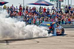 Grinchuk performs some burnout entertainment at one of the 11 Ukrainian events.