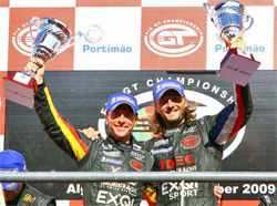 SRT Corvette Z06 drivers Bert Longin and James Ruffier celebrate their first win of the season at the Autodromo Internacional Algarve Circuit in Portimao, Portugal, photo courtesy of Pratt and Miller Engineering