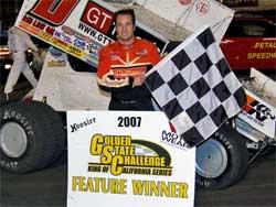 Jonathan Allard wins at Petaluma Speedway, photo by Steve Cox