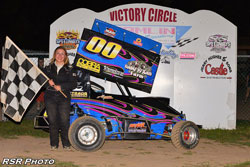 Alyssa Riker proved her merit as a racer with a first place finish at Hamlin Speedway for a 270 micro sprint this past season.