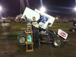 Forsberg lists winning the 1st annual Tyler Wolf Memorial in the A&A Motorsports No. 92, 410 Sprint Car as a 2013 season highlight.