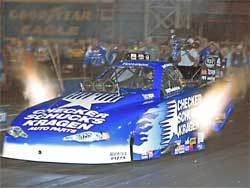 Jeff Arend in blue CSK Funny Car