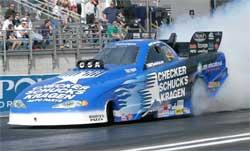 Jeff Arend's blue CKS Monte Carlo Funny Car