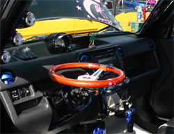 Tilt steering wheel is one of the features of Art Gonzales' 2006 Scion xB