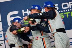 The trio of Christoffer Nygaard, Kristian Poulsen and Allan Simonsen, celebrate their GT Am win.