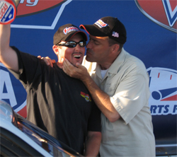 Summit Racing Equipment Nationals Motorsports track owner, Bill Bader Jr. jokes with long time friend Rick Baehr in the Winner's Circle at Norwalk, Ohio