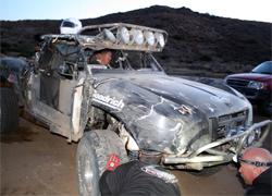 Truck repairs were done quickly in the Baja 500 after the Torchmate Ford Ranger was almost destroyed, photo by Nick Socha
