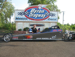Arley Ballard races a junior dragster at Byron Raceway, but will be moving up in class competing with teenagers regulary