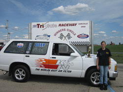 Emma Ballard won a race in the high school division at Tri-State Raceway in Iowa in 2012