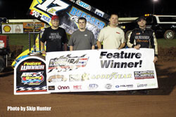 Despite a broken rocker arm during the hot laps, Bill Balog recently took the checkered flag in the main event while competing in the Horsepower Half-Mile, at the Dodge County Fairgrounds, in Beaver Dam Wisconsin.