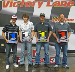 Robie Peterson, Corey Erhardt, Harold Waddel, Travis Whitlock, from left to right, were honored during the N.A.H.A. Pro Hillclimb awards banquet in Las Vegas, Nevada