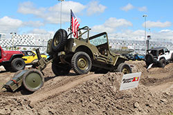 Jeep Beach 2016 WWII flatender Jeep on obsticle course
