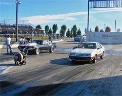 Cold tires and a warm engine on the Duck Tape Turismo made it harder for Michael Beard in the third round of a Warm UP Race at Farmington Dragway, Photos courtesy of Robert Ellison